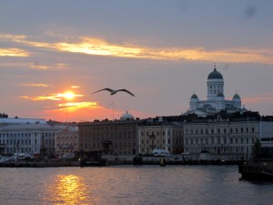 Sunset over Helsinki, photo by me
